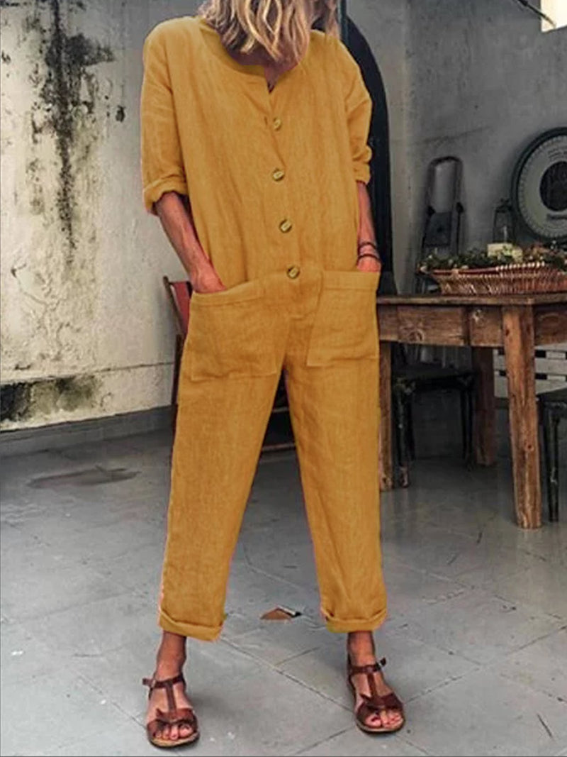 Casual Crew Neck Long Sleeve Pockets Buttoned Plus Size Jumpsuits