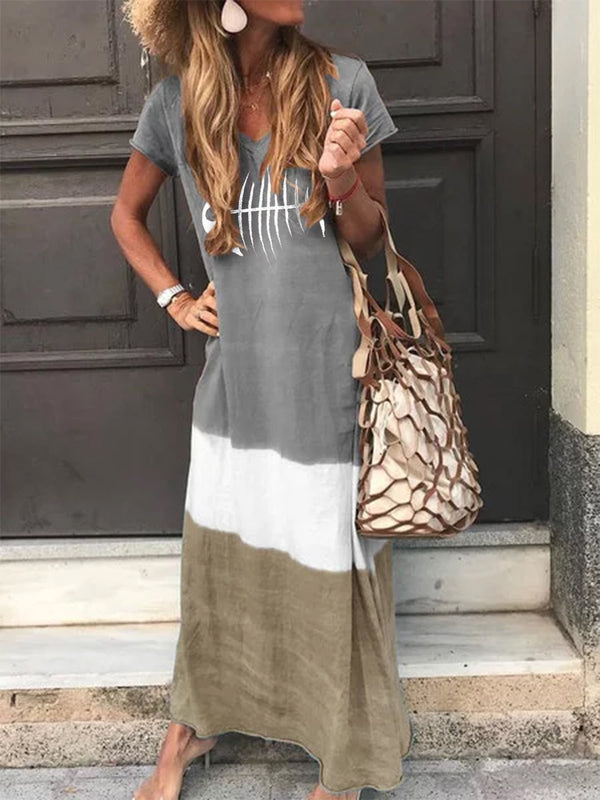 Women V Neck Casual Short Sleeve Fish Bone Maxi Dresses