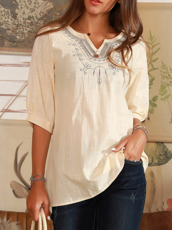 Apricot Half Sleeve V Neck Casual Shirts & Tops