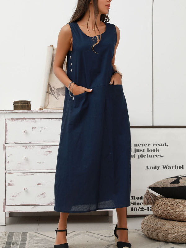 Royal Blue A-Line Sleeveless Crew Neck Cotton Dresses