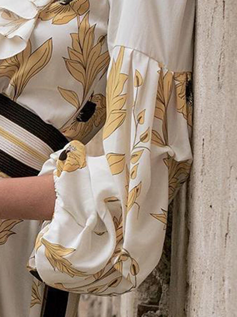White V Neck Ruffled Balloon Sleeve 2019 New Lady's Blouses