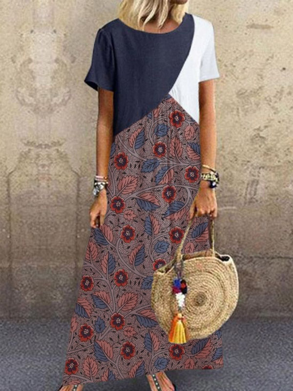 Blue Patchwork Cotton-Blend Short Sleeve Round Neck Vintage Maxi Dresses