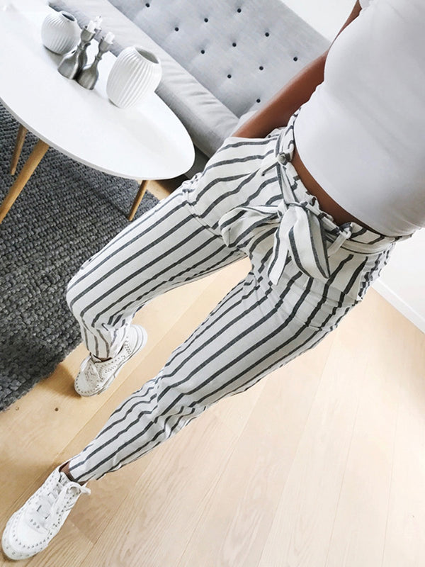 White Striped Printed Casual Cotton-Blend Pants