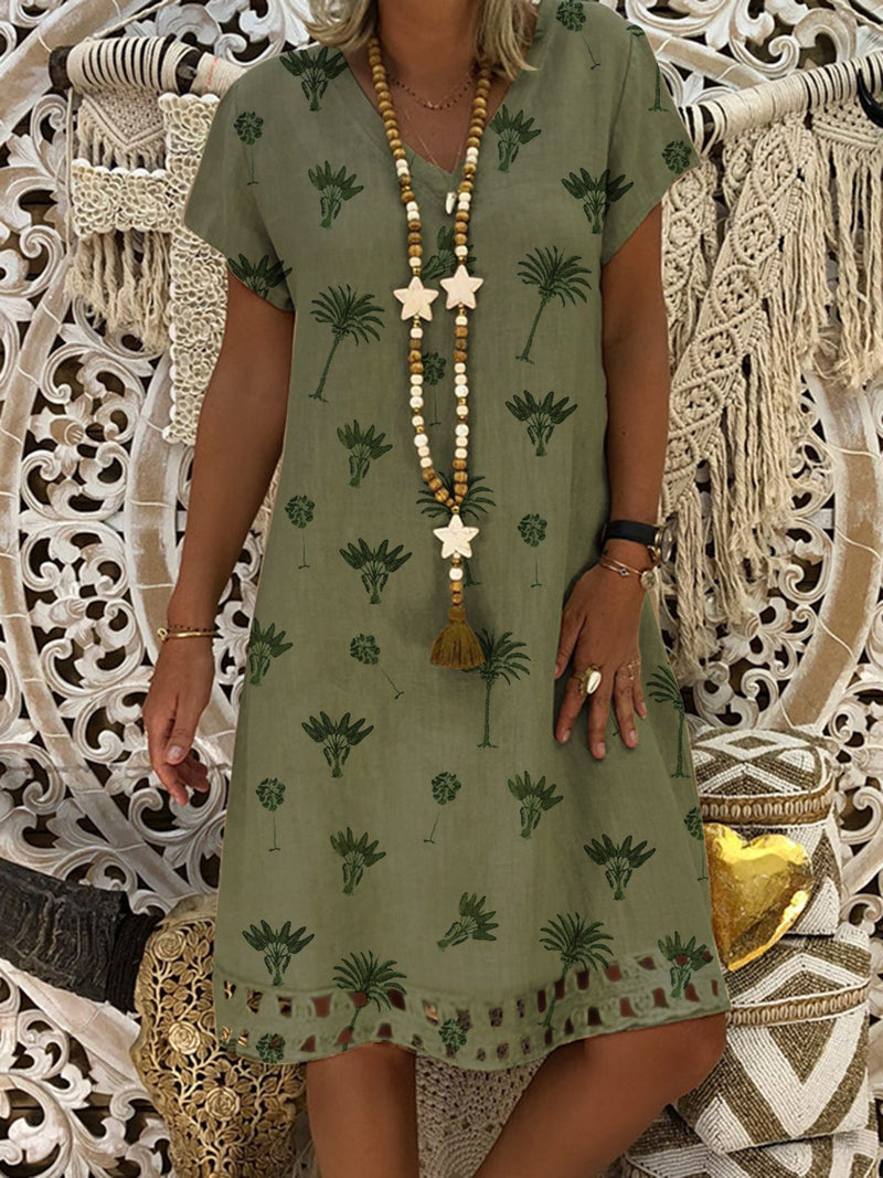 Leaf Printed Casual Short Sleeve Plus Size Dresses