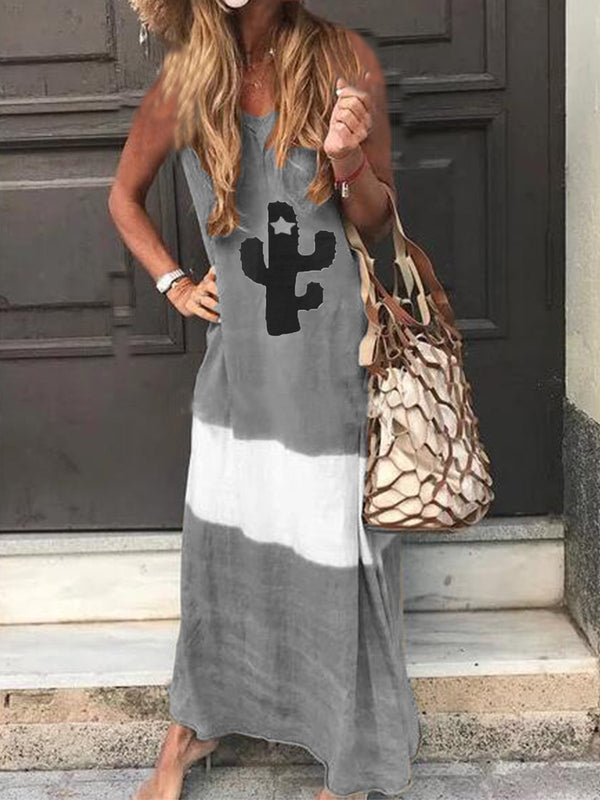 Casual V Neck Printed Cotton-Blend Maxi Dresses