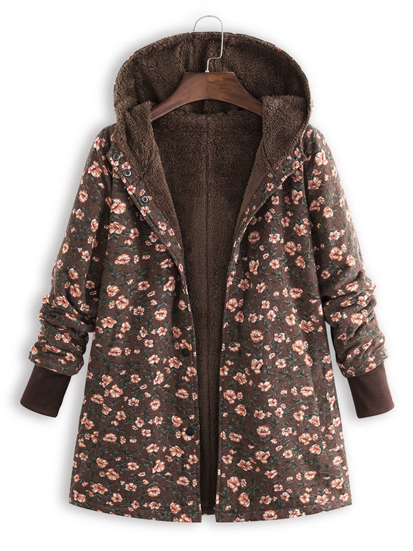 Floral Long Sleeve Cotton Casual Coat