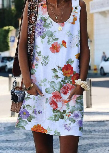 Crew Neck Sleeveless Floral Plus Size Dresses