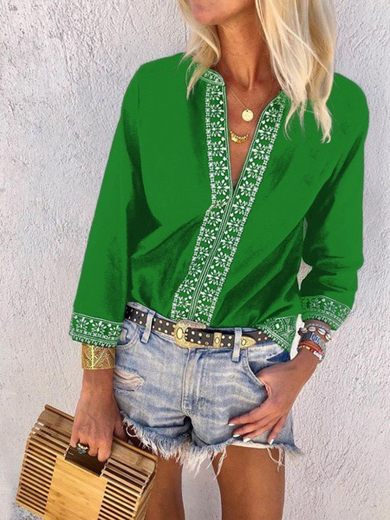 Printed Floral V neck Casual Blouses & Shirts