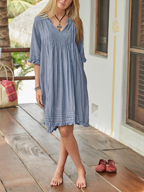 Women Half Sleeve Cotton-Blend V Neck Solid Summer Dresses