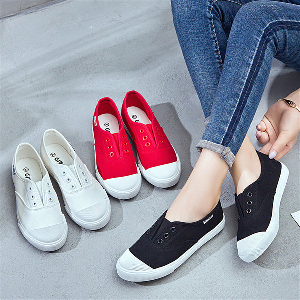 Women Athletic Canvas Sneakers Casual Slip On Shoes