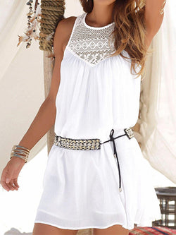 Crew Neck Women Summer White  Dresses Daily Cutout Beach Dresses