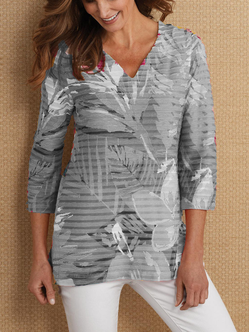 Printed 3/4 Sleeve Casual Blouse
