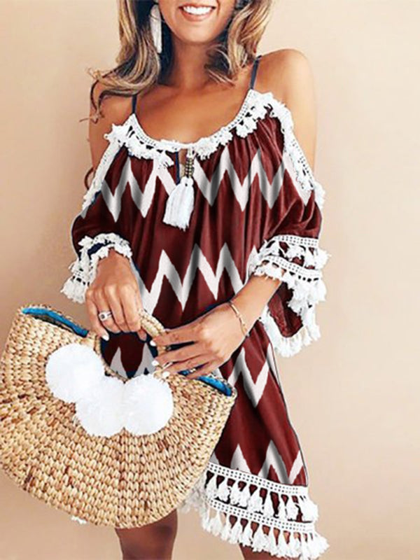 Crew Neck Women Summer Dresses Shift Fringed Paneled Dresses
