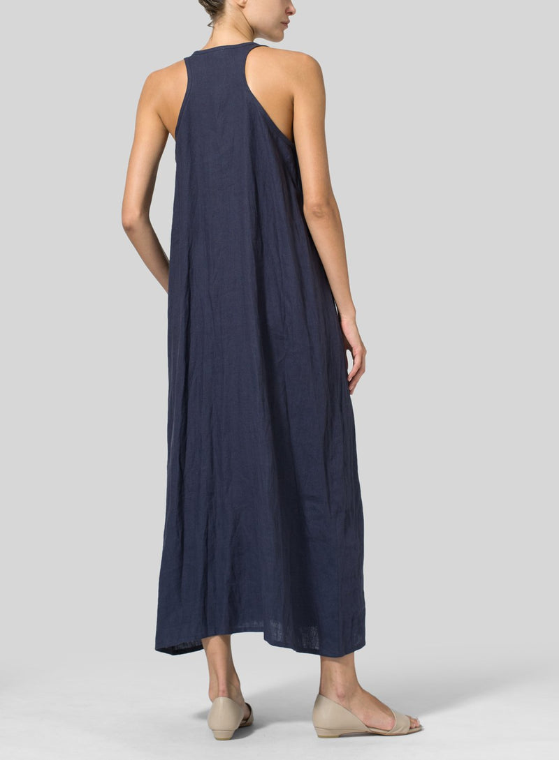 Casual Sleeveless Solid Plus Size Maxi Dresses