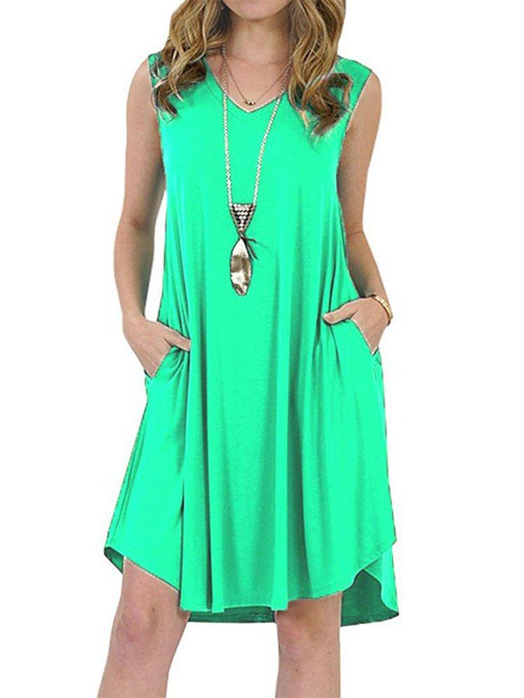 Plus Size  Summer Casual V-neck  Sleeveless V-neck T-Shirt Dress With Pockets