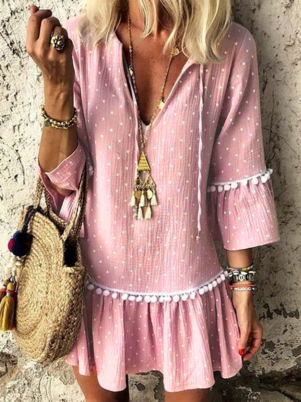 Followtrendy Summer Dress Women Paneled Polka Dots V Neck Lavender Daily Basic 3/4 Sleeve  A-line Dress