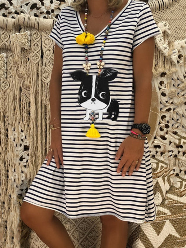 Casual Striped Dog Printed V-neck Short Sleeve Dress