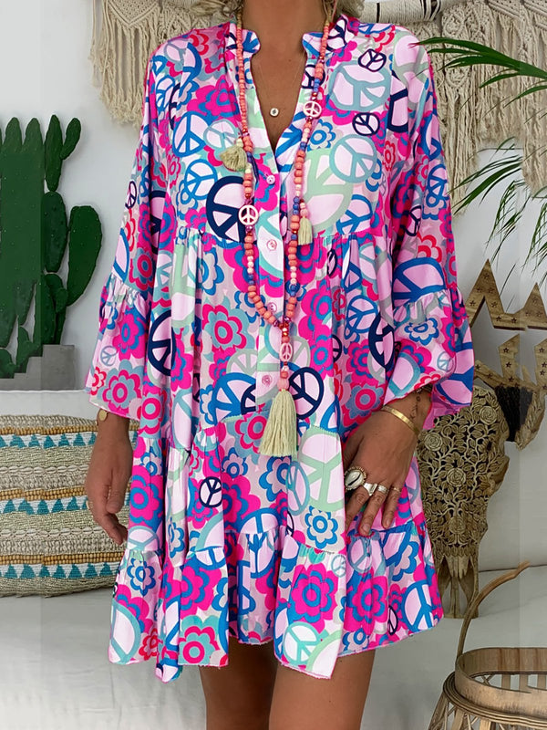 Women V Neck 3/4 Sleeve Buttoned Down Abstract Printed Dress