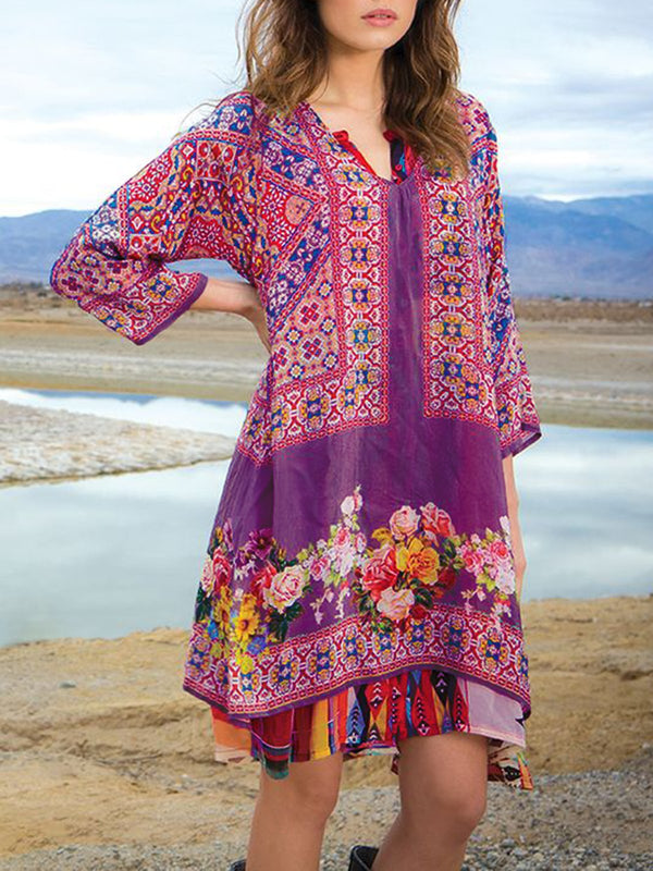 Women Floral V Neck 3/4 Sleeve Shift Plus Size Boho Dresses