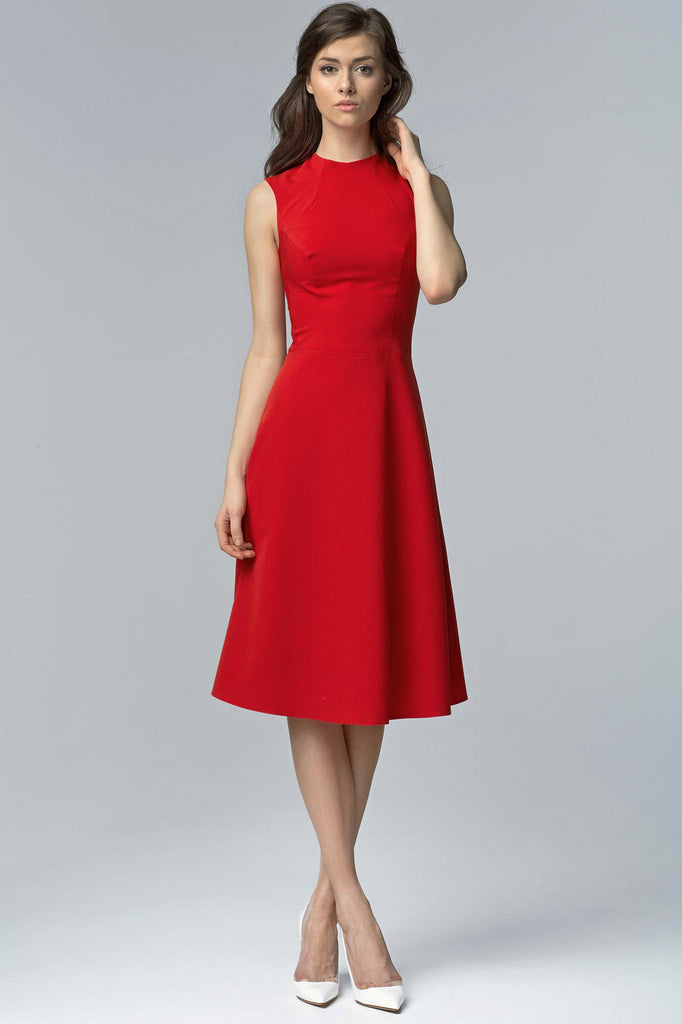 Robe midi, sans manches, rouge