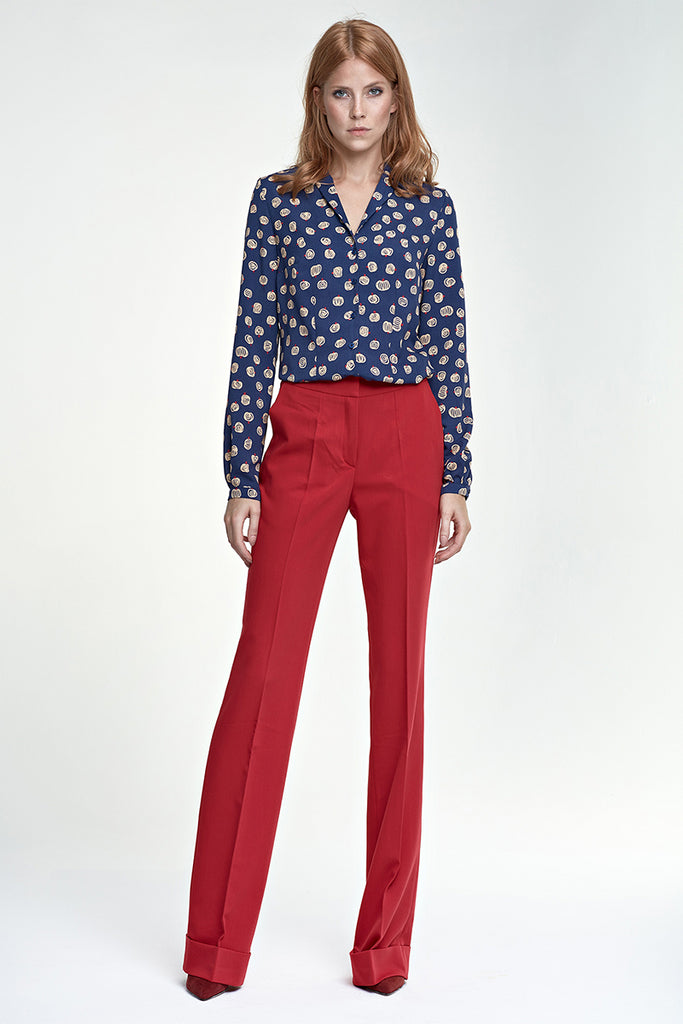 Pantalon droit à revers, rouge