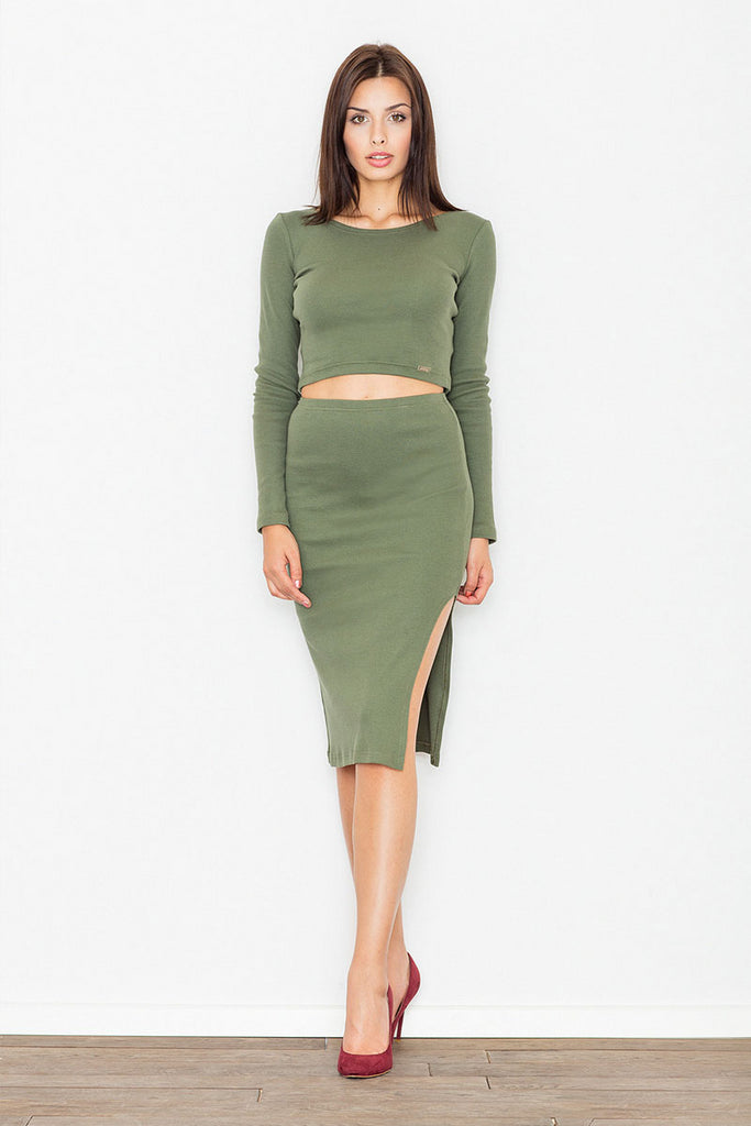 Ensemble casual, jupe fendue et crop top, olive