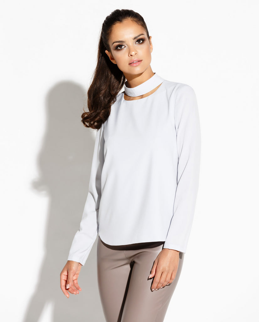 Blouse, encolure collier, gris colombe