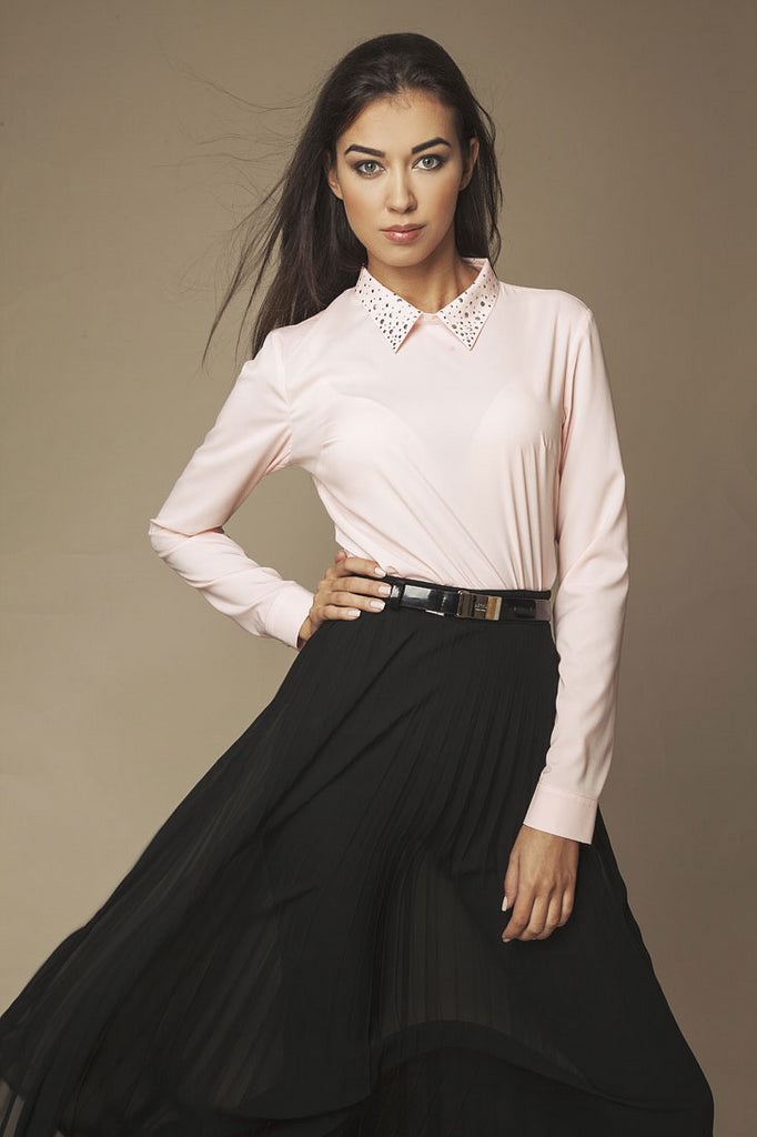 Blouse rose manches longues, col fantaisie