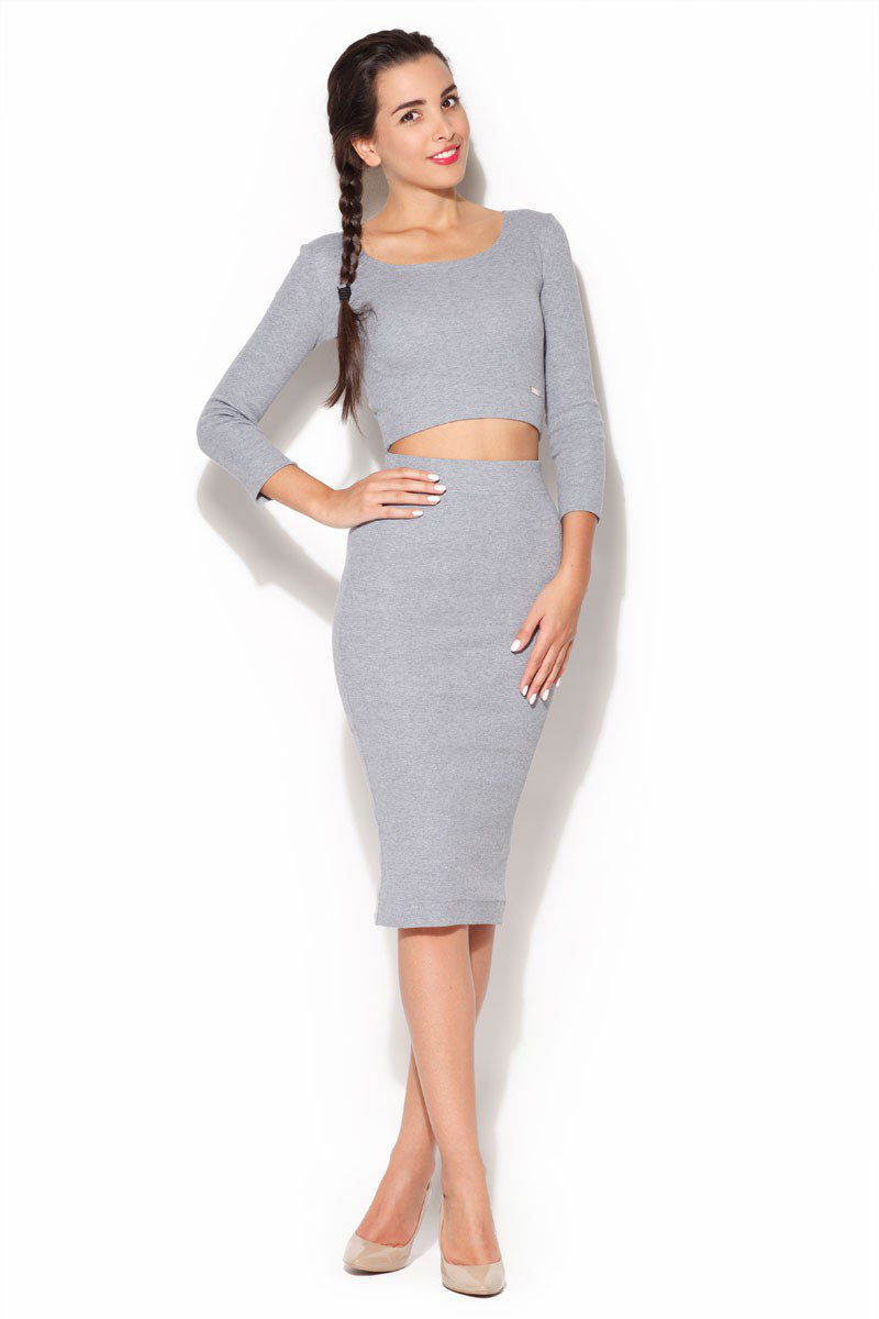 Ensemble jupe tube et crop top, gris