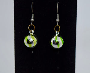Christmas Earrings Green Stripped Ornaments Small