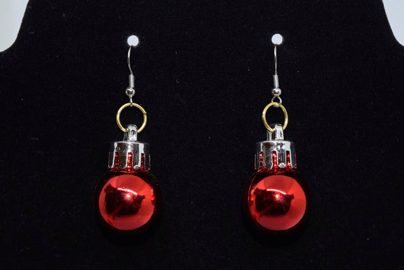 Christmas Earrings Red Ornament