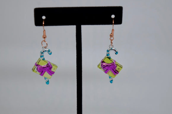 Candy Cane with Gifts Earrings