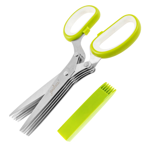 Image of Jenaluca Herb Scissors – Heavy Duty 5 Blade Kitchen Shears with Safety Cover