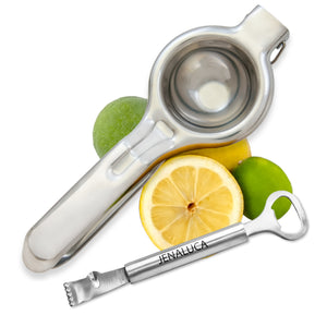 Jenaluca Citrus Press Manual Juicer and Zester with Channel Knife and Bartender Bottle Opener - Stainless Steel 18/10 – Combo Gift Package