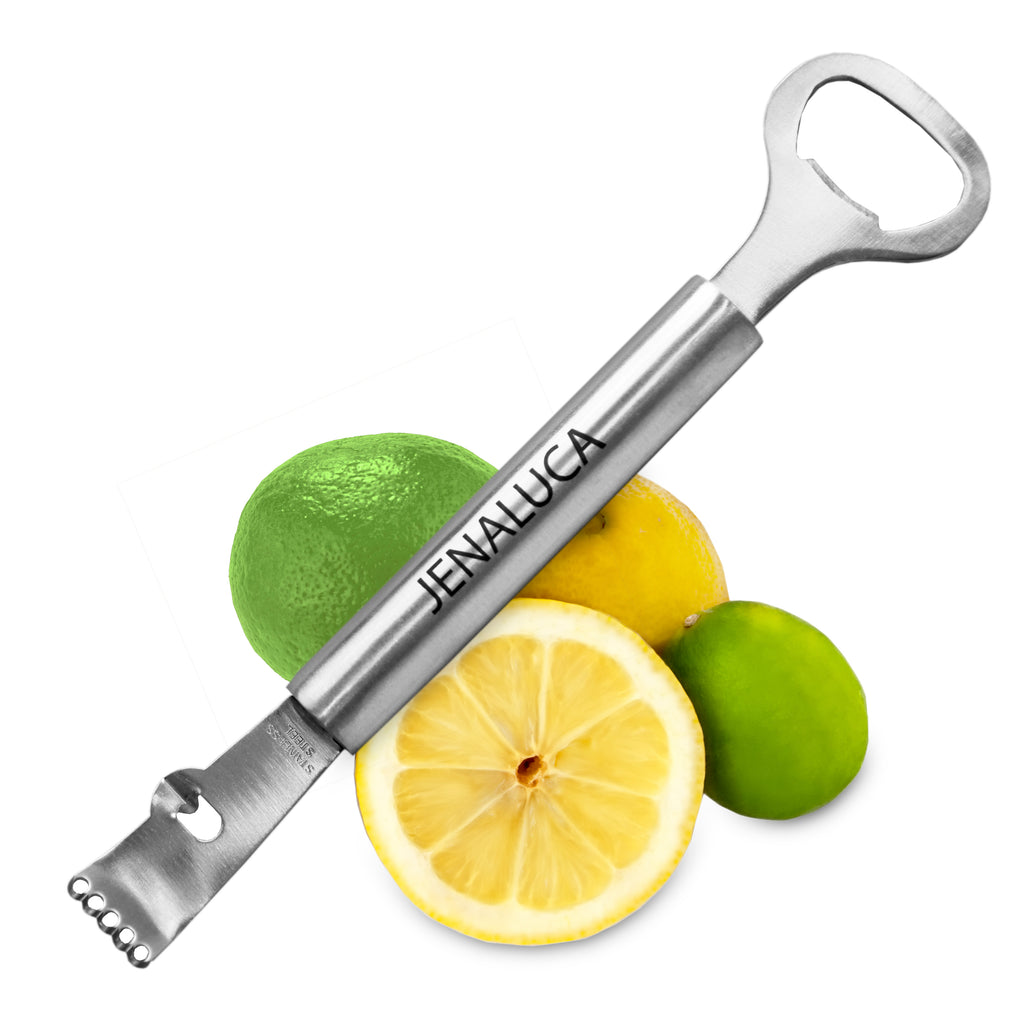 Jenaluca Channel Knife Lemon Zester with Bottle Opener 3-in-1 Bartending Tools