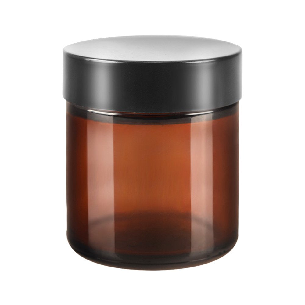 4 Oz. Amber Glass Straight Side Jar/ Black Lid With Liner - Thick Glass
