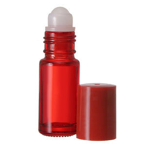 Red Glass Roll On Bottles - 5 ML