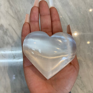 XL Selenite Crystal Heart