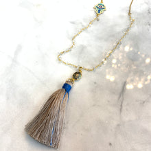 Load image into Gallery viewer, Clear Quartz, Hamsa and Tassel Necklace
