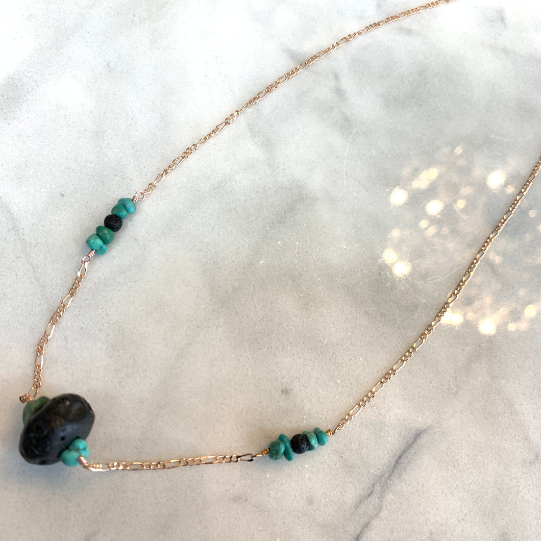 Turquoise and Black Lava Beads
