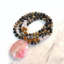 Load image into Gallery viewer, Pink Agate, Rose Quartz Rudraksha Mala