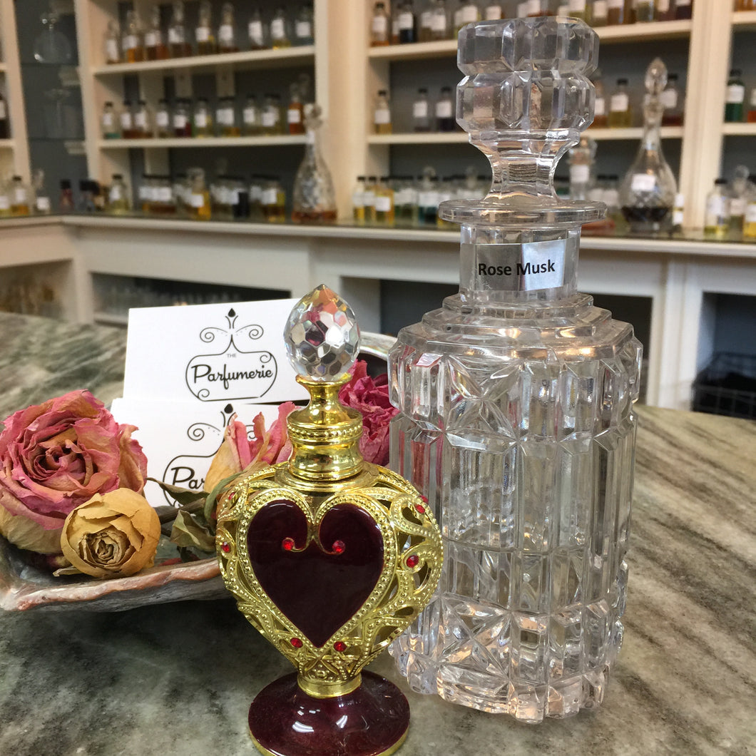 Red and Gold Heart Attar Bottle