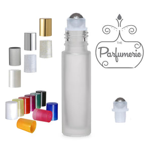 Frosted Glass Roll On Bottles - 10 ML - Stainless Steel Rollerball Insert