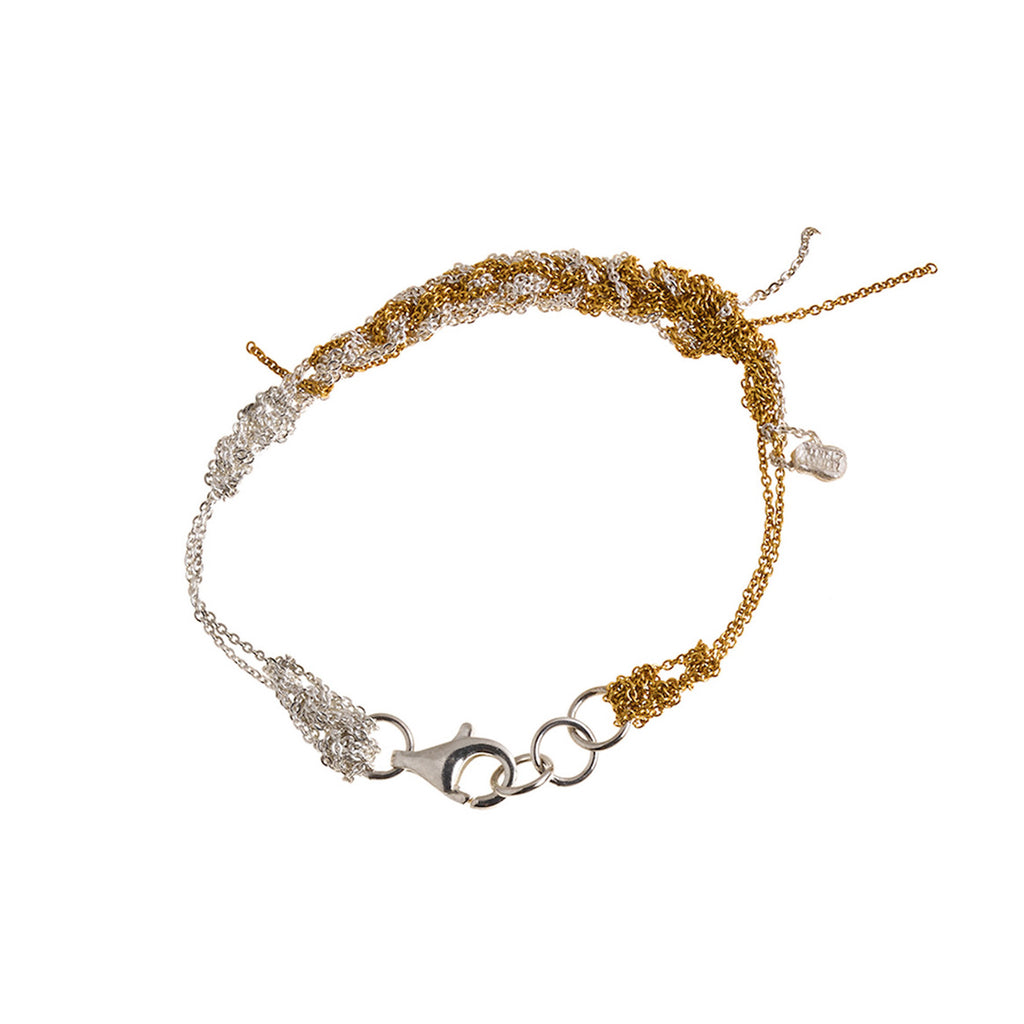 2-Tone Bare Chain Bracelet in Gold + Silver