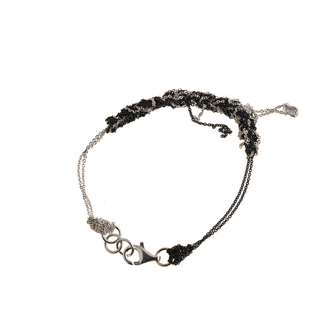 - 2-Tone Bare Chain Bracelet - Silver + Midnight -