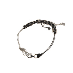 - 2-Tone Bare Chain Bracelet - Silver + Midnight