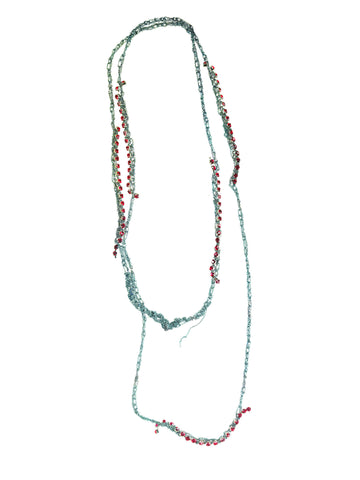 Crystal Simple Necklace Freedom Blue + Red Crystals