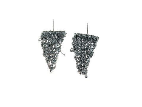 Crystal Trim Triangle Earrings