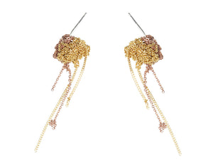 2-Tone Bead Earrings in Gold + Rose Gold