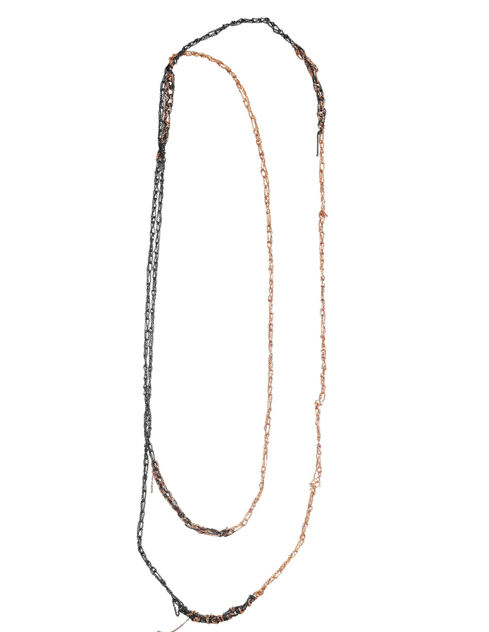 4-Tone Simple Necklace in Faded + Rose Gold